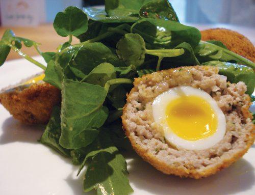 Quail's Egg, Lancashire Black Pudding and Pancetta Scotch Eggs by Richard Fox