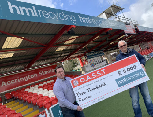 HML RECYCLING DONATE A GENEROUS £5000 TO THE OFFICIAL ACCRINGTON STANLEY SUPPORTERS TRUST